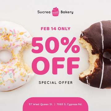 Valentine's Day Offer with sweet Donuts