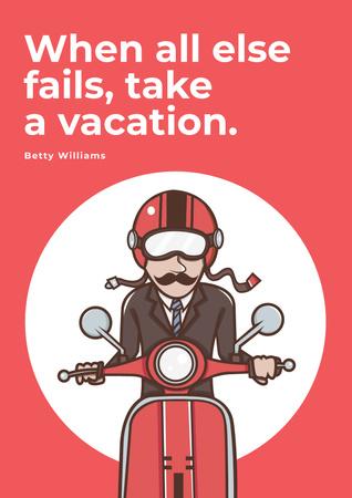Plantilla de diseño de Man going on bike to vacation Poster