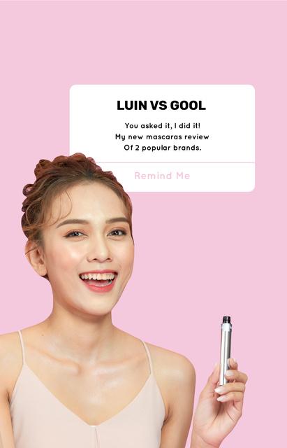 Plantilla de diseño de Beauty Blogger reviewing Mascara IGTV Cover
