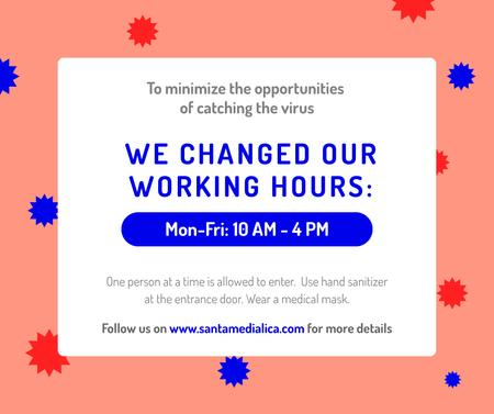 Plantilla de diseño de Working Hours Rescheduling during quarantine notice Facebook