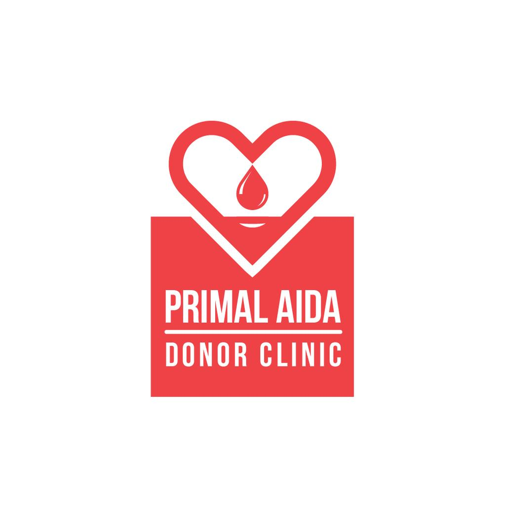 Donor Clinic with Heart Icon in Red — Modelo de projeto
