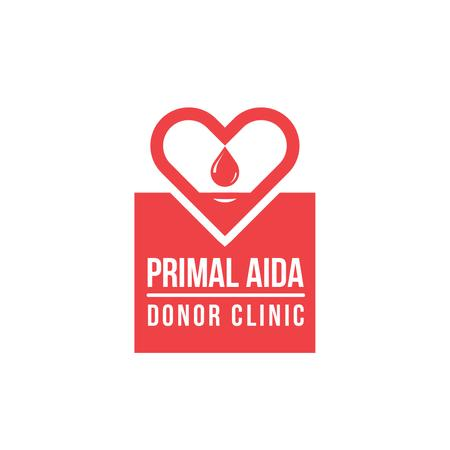 Donor Clinic with Heart Icon in Red Logo – шаблон для дизайну