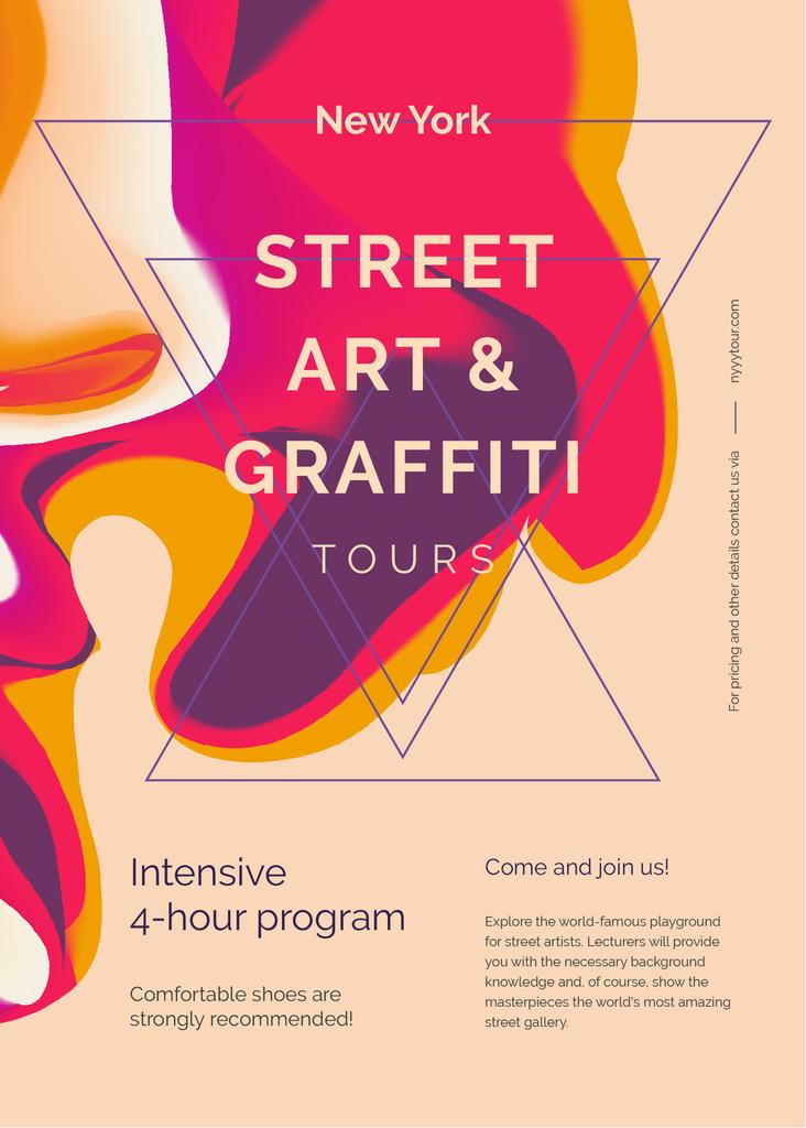 Modèle de visuel Graffiti art promotion on Colorful blurred pattern - Invitation