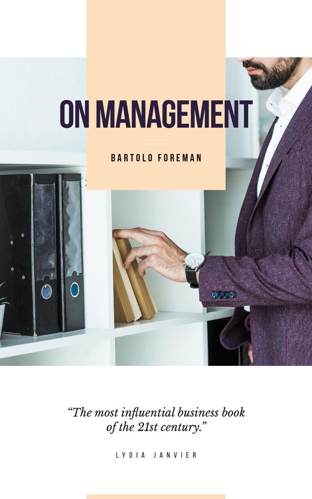 Businessman by Shelves with Folders — ein Design erstellen