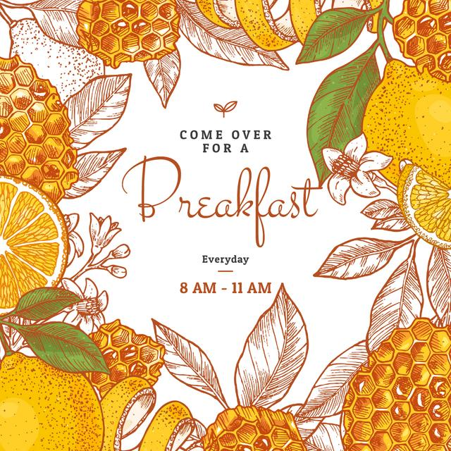 Breakfast offer with honeycombs and oranges Instagram Design Template