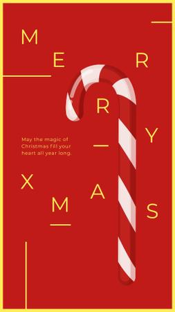 Christmas Card with Candy Cane Instagram Story Modelo de Design