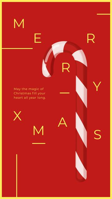 Modèle de visuel Christmas Card with Candy Cane - Instagram Story