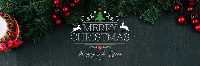Ontwerpsjabloon van Twitter van Christmas Greeting Fir Tree Branches