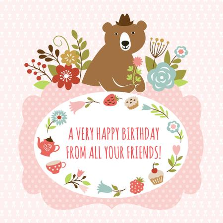 Happy birthday greeting with Bear and Flowers Instagram AD Modelo de Design