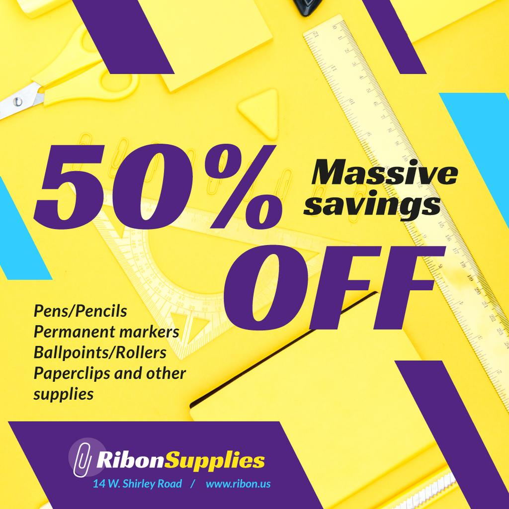 Office Supplies Offer Stationery in Yellow — Создать дизайн
