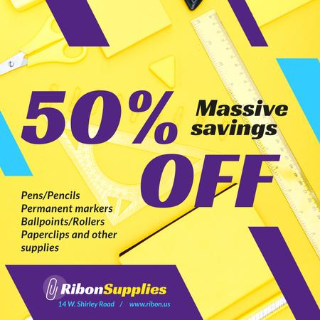 Szablon projektu Office Supplies Offer Stationery in Yellow Instagram