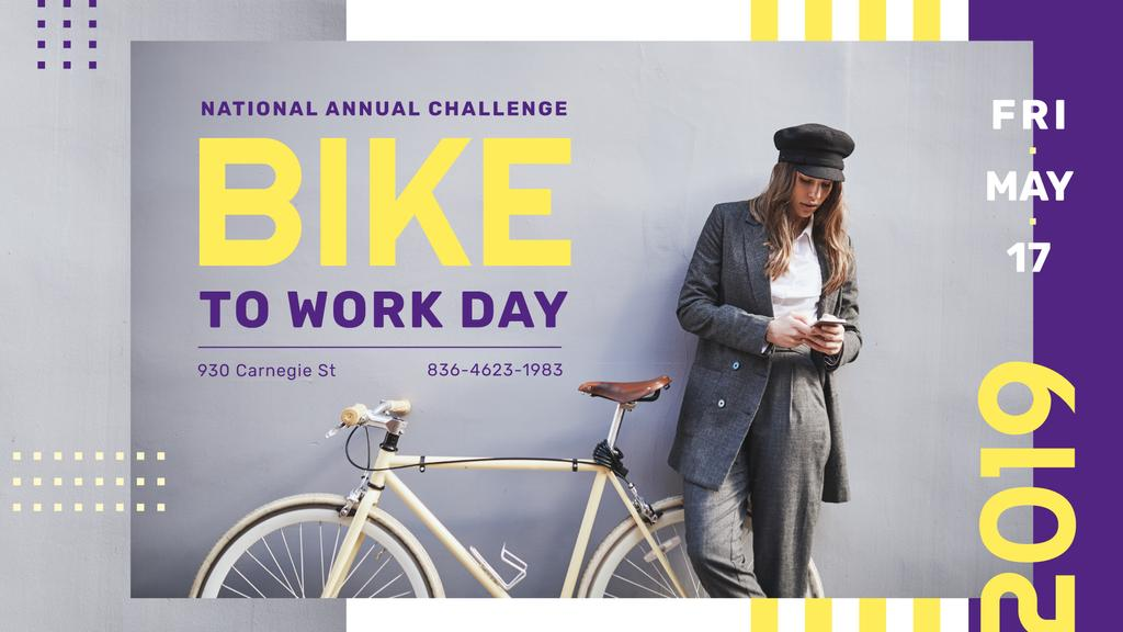 Bike to Work Day Challenge Girl with Bicycle in city — Create a Design