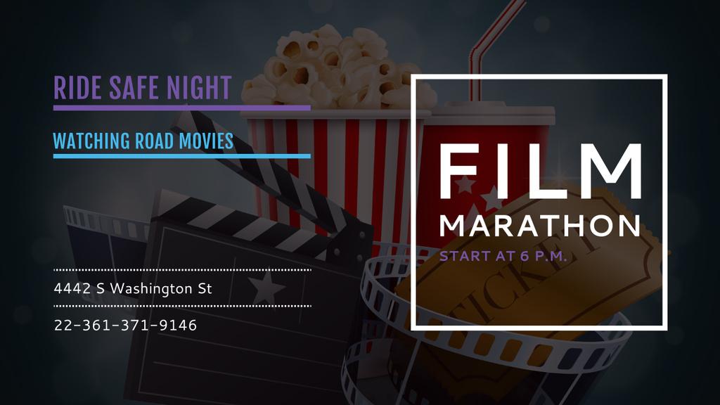 Movie Night Invitation with Cinema Attributes — Create a Design
