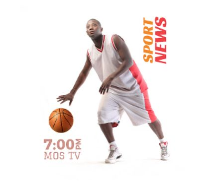 Sport News Announcement Basketball Player Large Rectangle – шаблон для дизайна