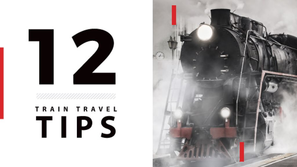train travel tips background with steam engine train — Modelo de projeto