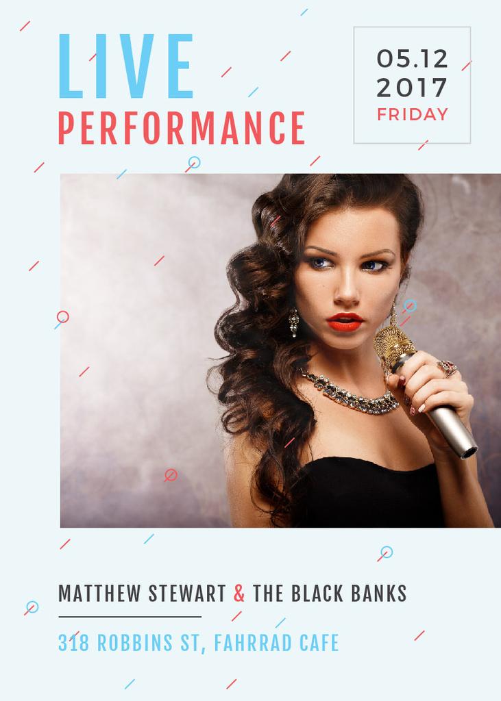 Live Performance Announcement Gorgeous Female Singer — Maak een ontwerp