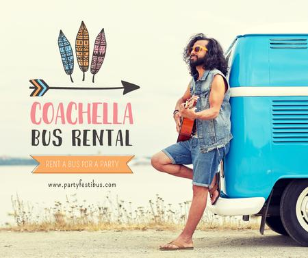 Plantilla de diseño de Coachella bus rental with Man by van Facebook
