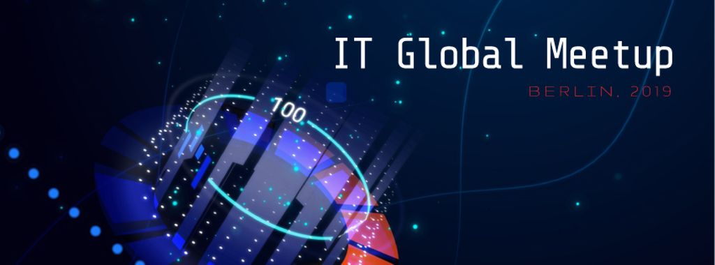 Glowing cyber circle in blue — Crea un design