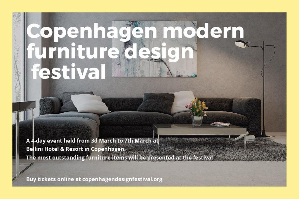 Designvorlage Modern furniture design festival Announcement für Gift Certificate