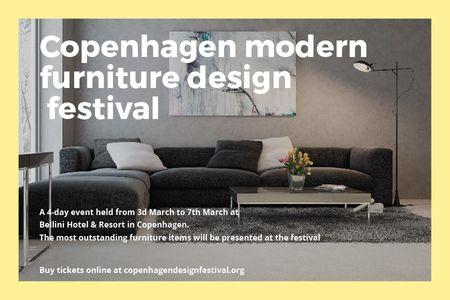 Plantilla de diseño de Modern furniture design festival Announcement Gift Certificate