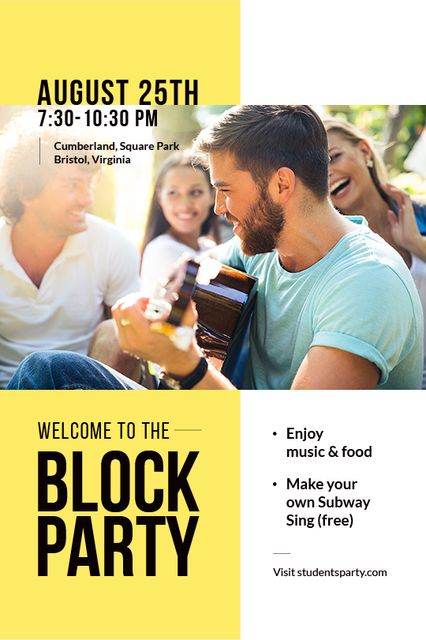Friends at Block Party with Guitar Tumblr Design Template