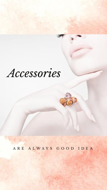 Szablon projektu Jewelry Ad Woman in Precious Ring Instagram Story