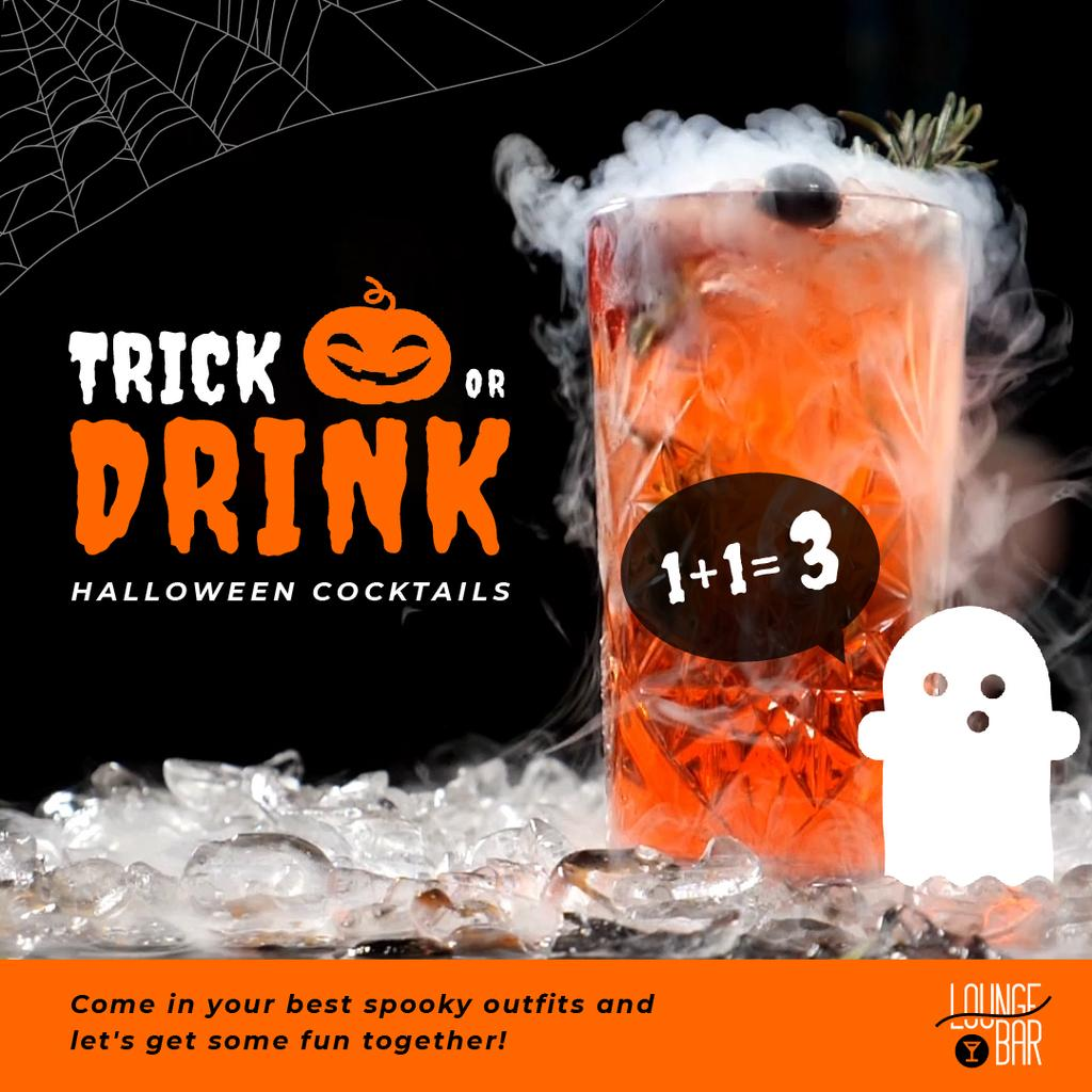 Trick or Treat Halloween Drink Offer with Cocktail Glass — Modelo de projeto