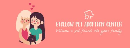 Ontwerpsjabloon van Facebook Video cover van Two girls hugging cat at adoption center