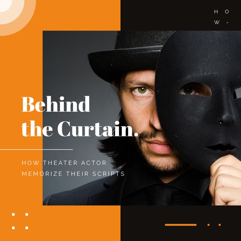 Man with theatrical mask — Maak een ontwerp