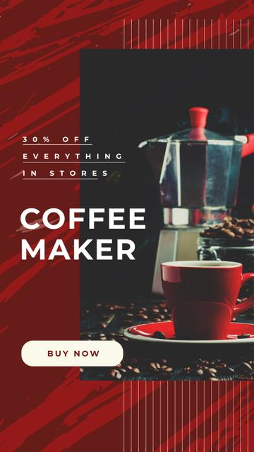 Designvorlage Shop Offer with Cup with hot coffee für Instagram Story