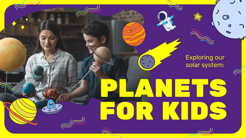 Kids Education Boy Studying Planets — Create a Design