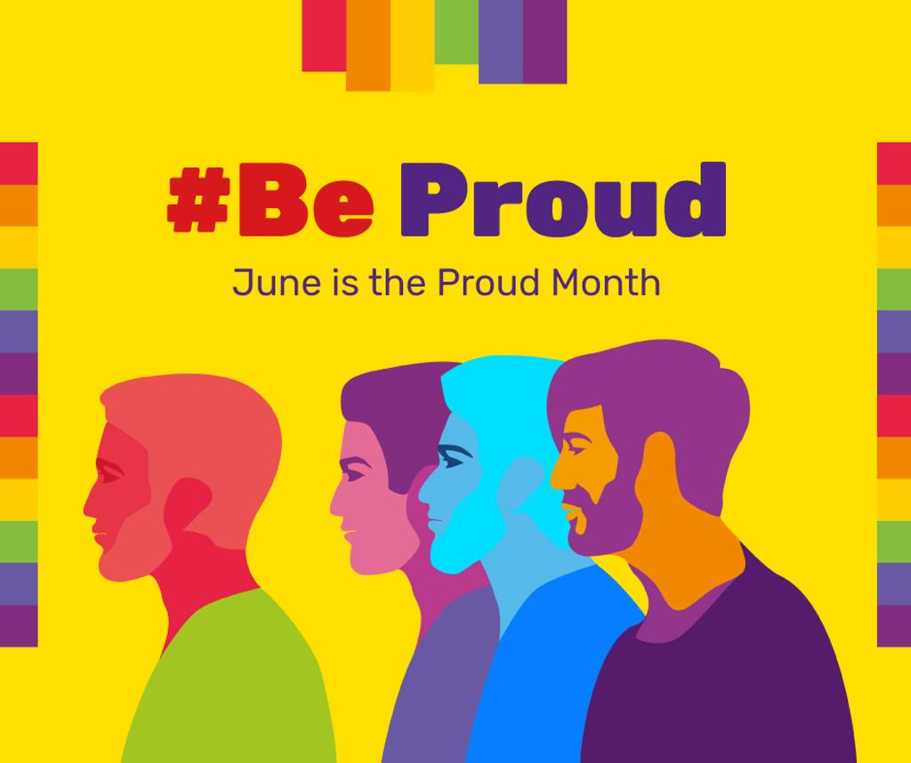 Diverse men rainbow silhouettes on Pride Month — Créer un visuel