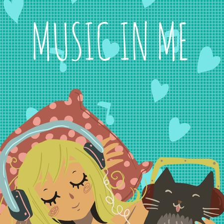 Girl and Cat in Headphones Animated Post Modelo de Design
