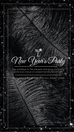 Template di design New Year Invitation Black Feathers and Confetti Instagram Video Story