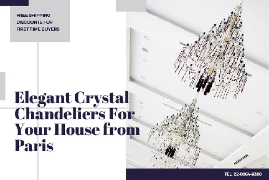 Elegant crystal chandeliers from Paris Gift Certificate Design Template