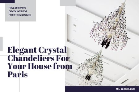 Elegant crystal chandeliers from Paris Gift Certificate – шаблон для дизайна