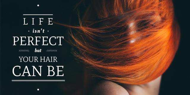 Plantilla de diseño de Hair beauty quote with Young Woman Twitter