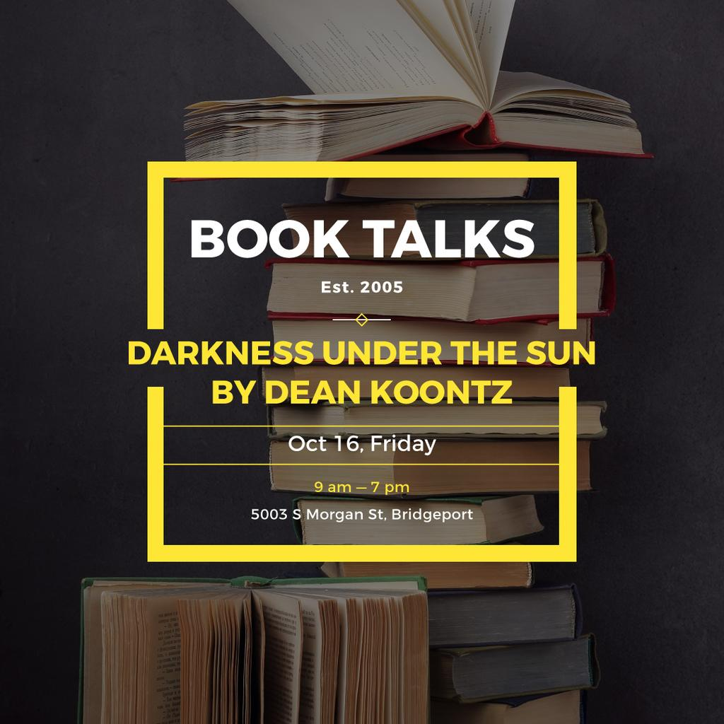 Book talks Announcement with Stack of Books — Crear un diseño