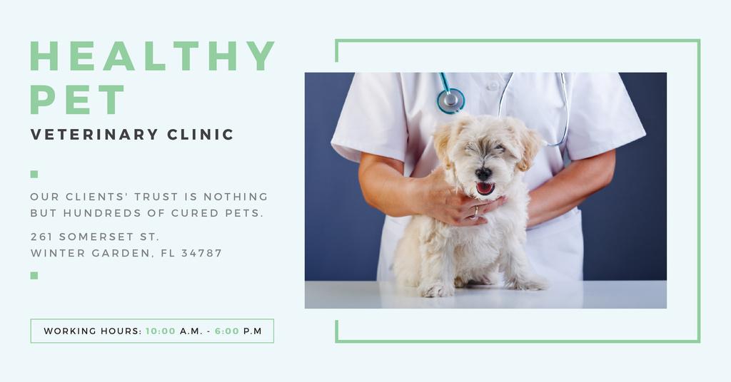 Pet veterinary clinic Ad with Cute Dog — Crea un design