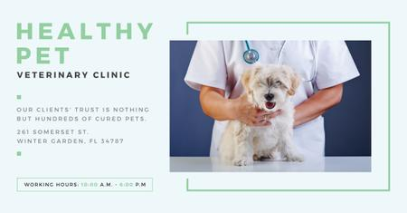 Ontwerpsjabloon van Facebook AD van Pet veterinary clinic Ad with Cute Dog