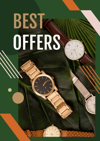Plantilla de diseño de Watches Ad on Green Leaves Flayer