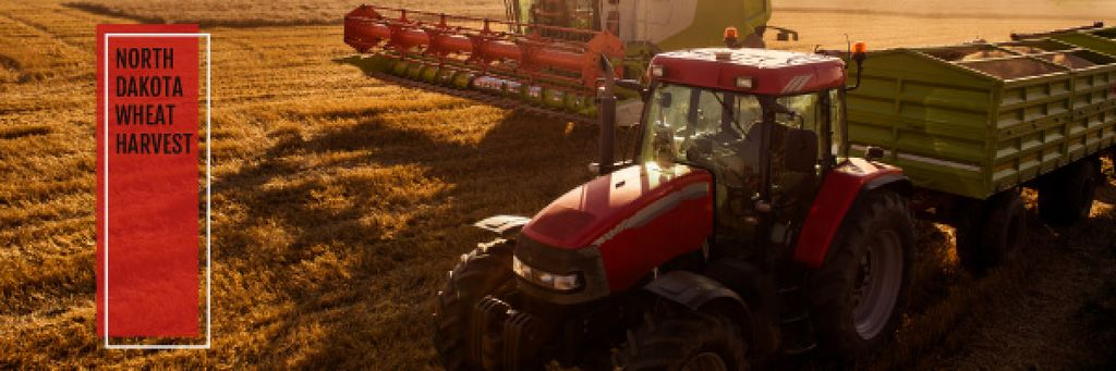 Agricultural Machinery Industry with Harvester Working in Field — Modelo de projeto