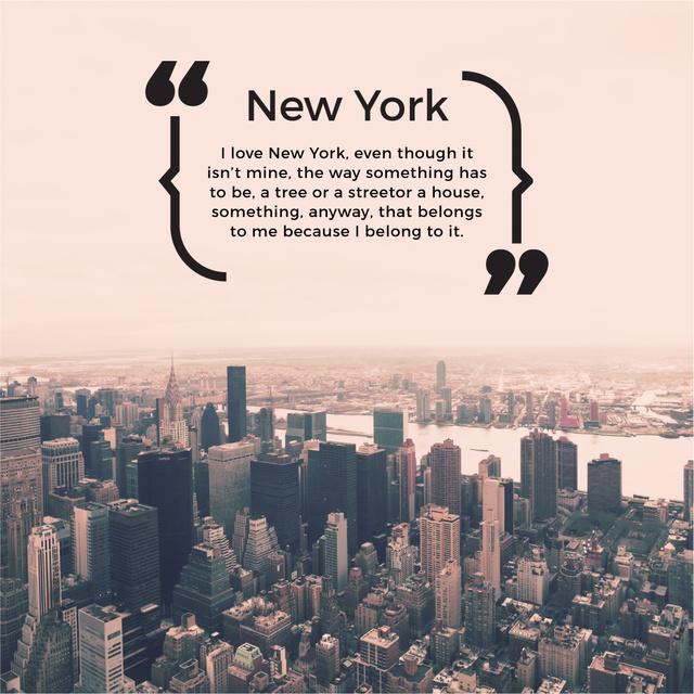 Designvorlage New York Inspirational Quote on City View für Instagram AD