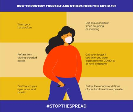 Plantilla de diseño de #StopTheSpread of Coronavirus with Woman wearing Mask Facebook