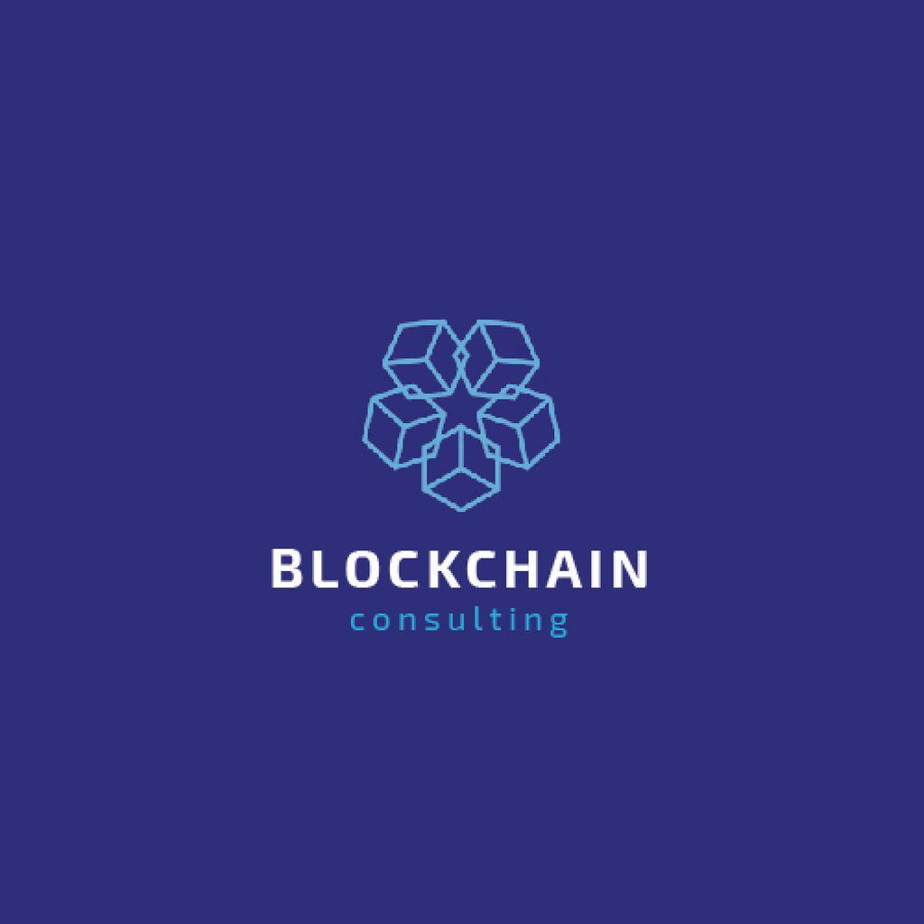 Blockchain Consulting with Cubes Icon in Blue — ein Design erstellen