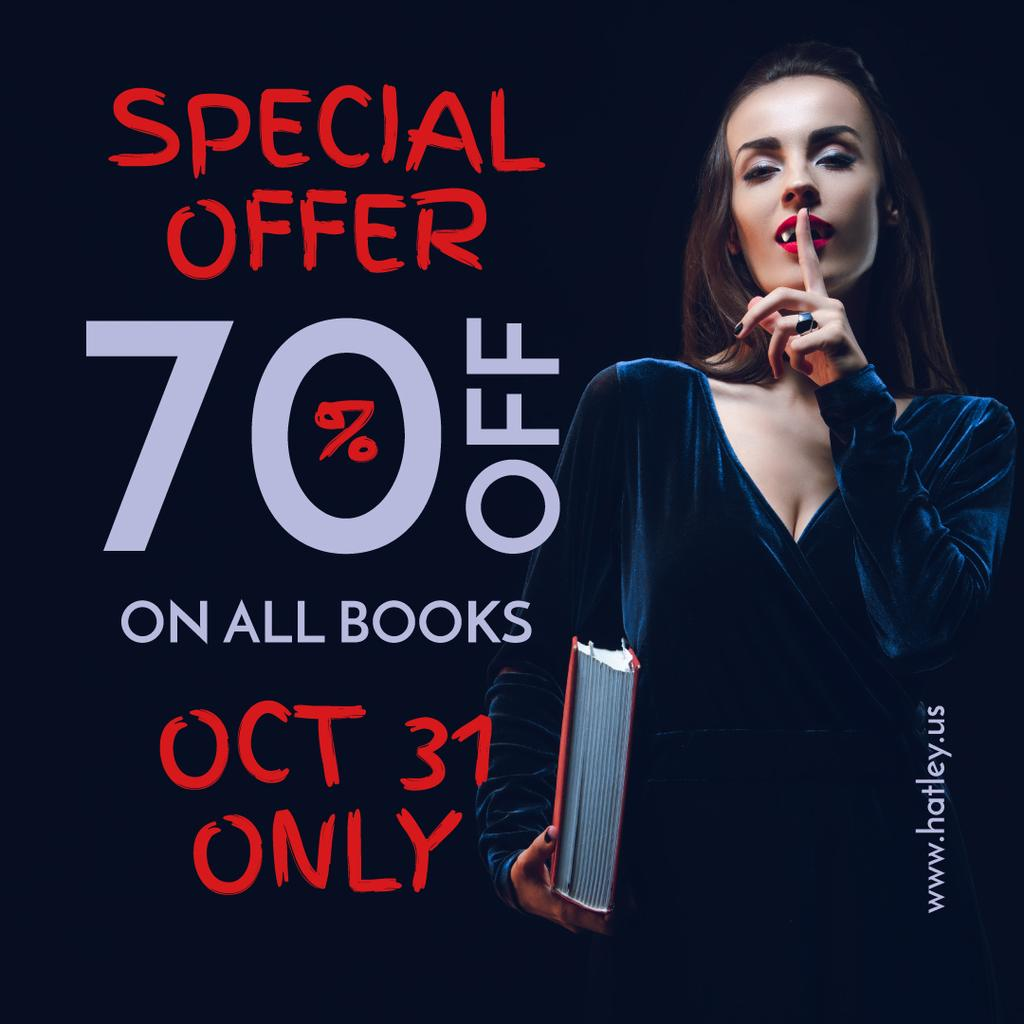 Halloween Books Sale Woman Showing Silence Gesture | Instagram Post Template — ein Design erstellen