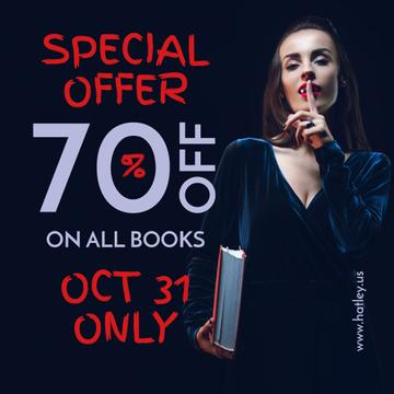 Halloween Books Sale Woman Showing Silence Gesture | Instagram Post Template