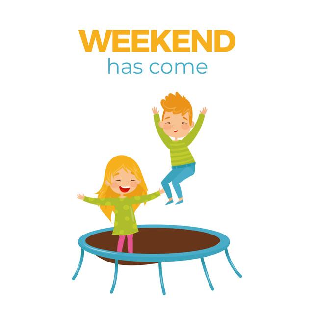 Designvorlage Children jumping on trampoline für Animated Post