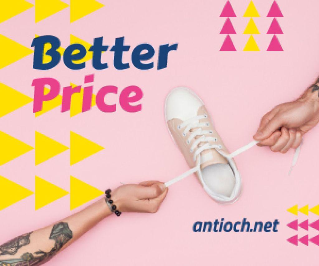 Sale Promotion Hands Holding Shoe in Pink — Crear un diseño