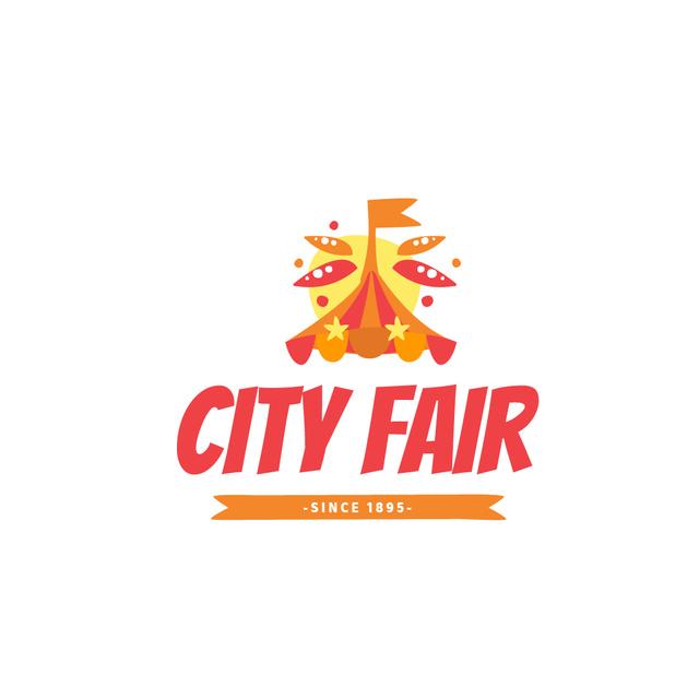City Fair with Circus Tent in Red Logo Modelo de Design